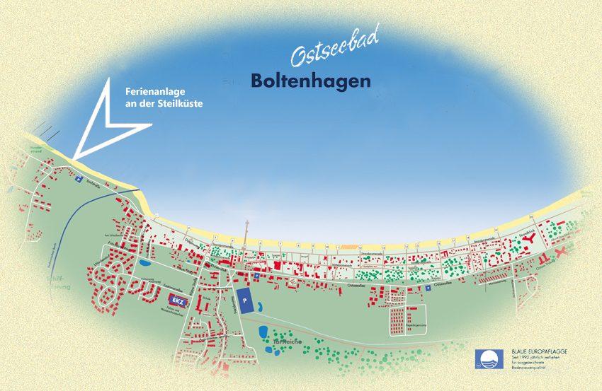 Lageplan der Ferienanlage an der Steilküste im Ostseebad Boltenhagen